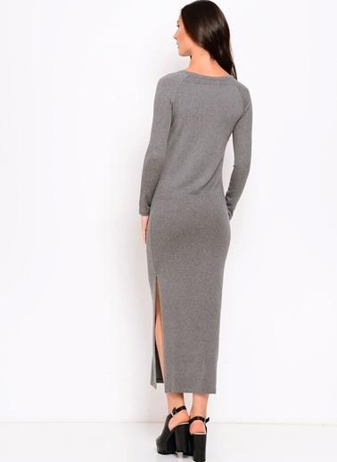 Limon Company Düz Dar Fit Yırtmaçlı Uzun Kadın Elbise Gri